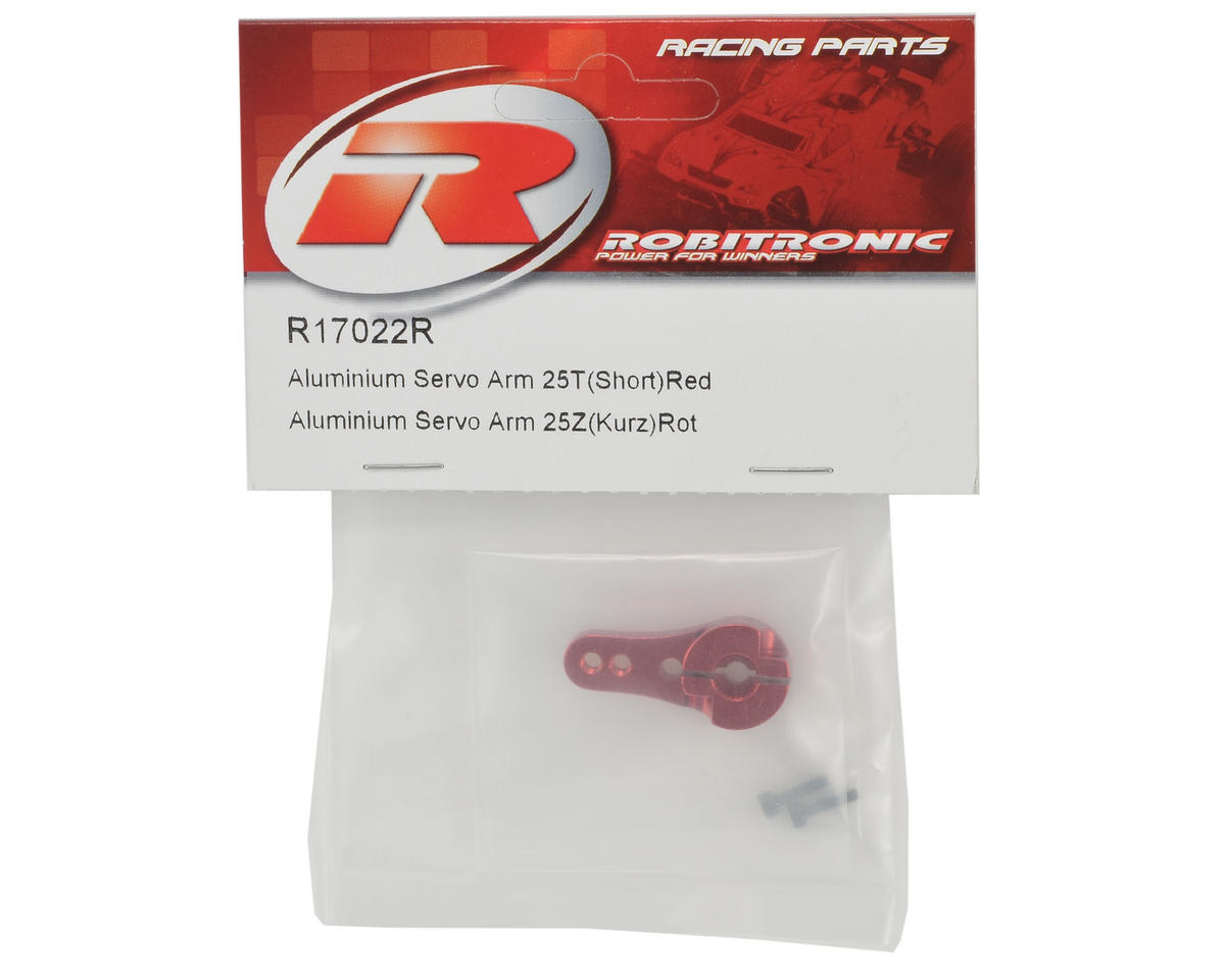 Robitronic Machined Aluminum Single Sided Servo Horn (Short) (Red) (25T)
