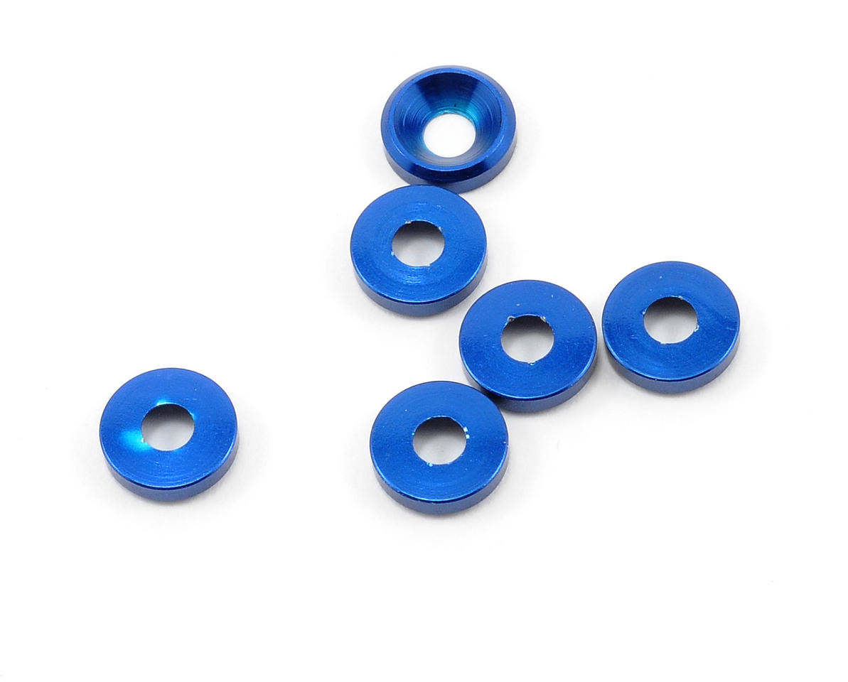 Racers Edge 3mm Aluminum Flat Head Washer (Blue) (6)
