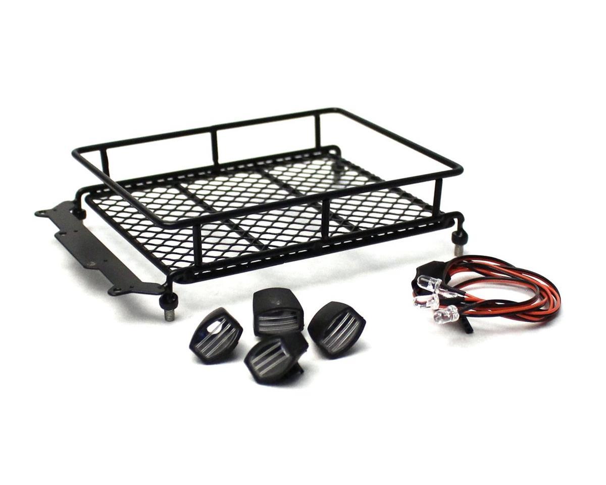 Racers Edge 1/10 Scaler Metal Mesh Roof Rack, Oval Lights - Black