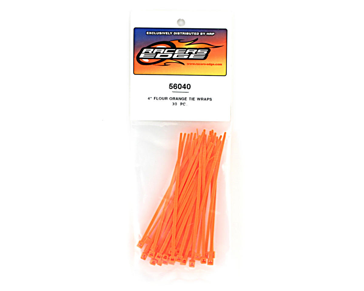"Racers Edge 4"" Flourescent Orange Zip Tie Wraps (30)"
