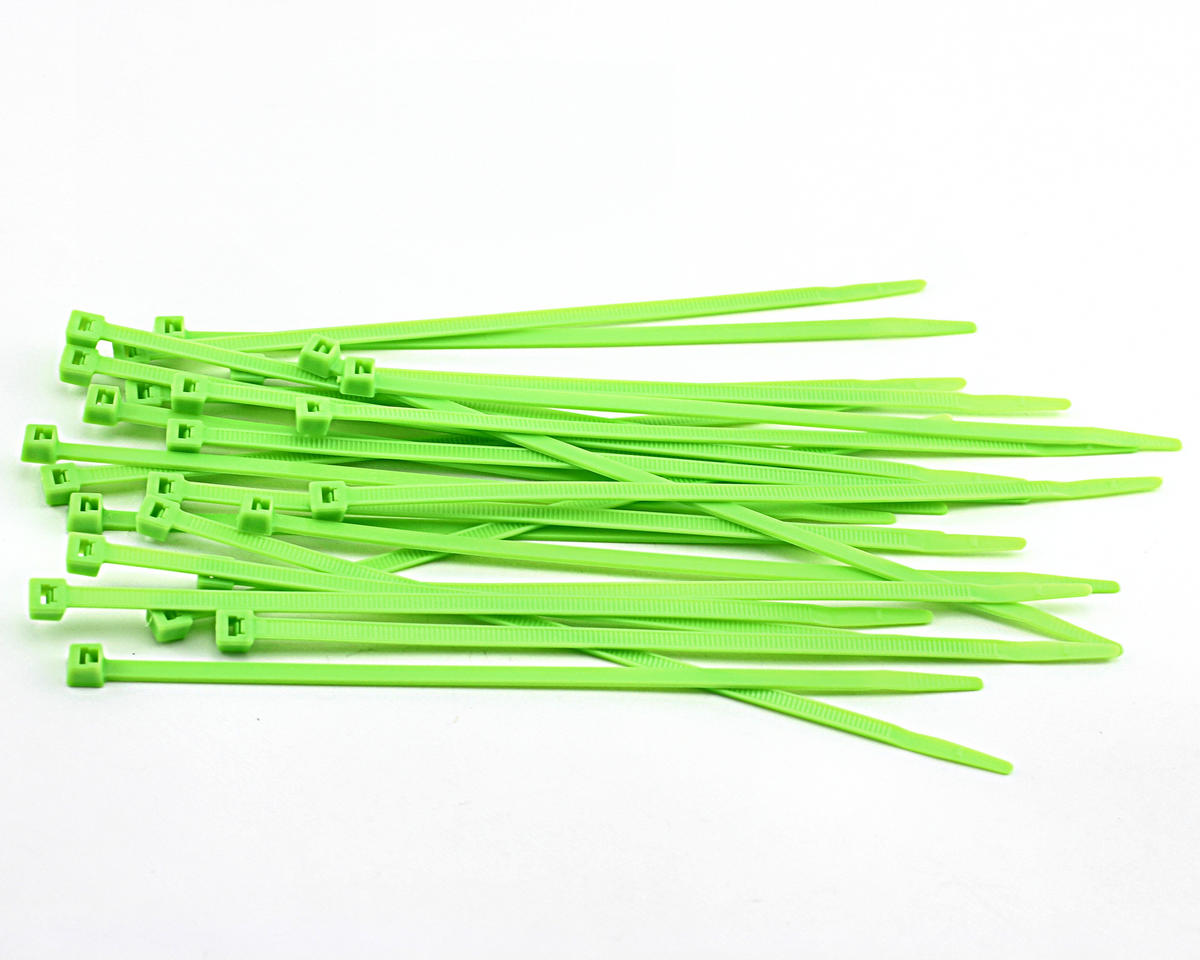 "Racers Edge 7.5"" Flourescent Green Zip Tie Wraps (25)"