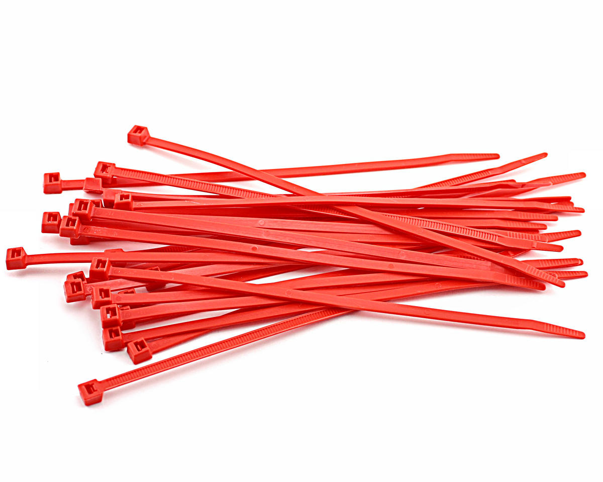 "7.5"" Hot Red Zip Tie Wraps (25) by Racers Edge"