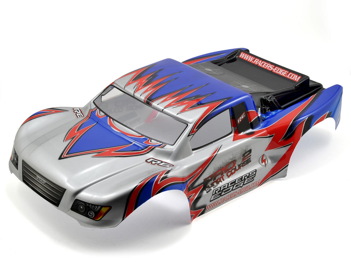 Racers Edge Pro2 1/10 Short Course Truck Body (Silver/Red/Blue)
