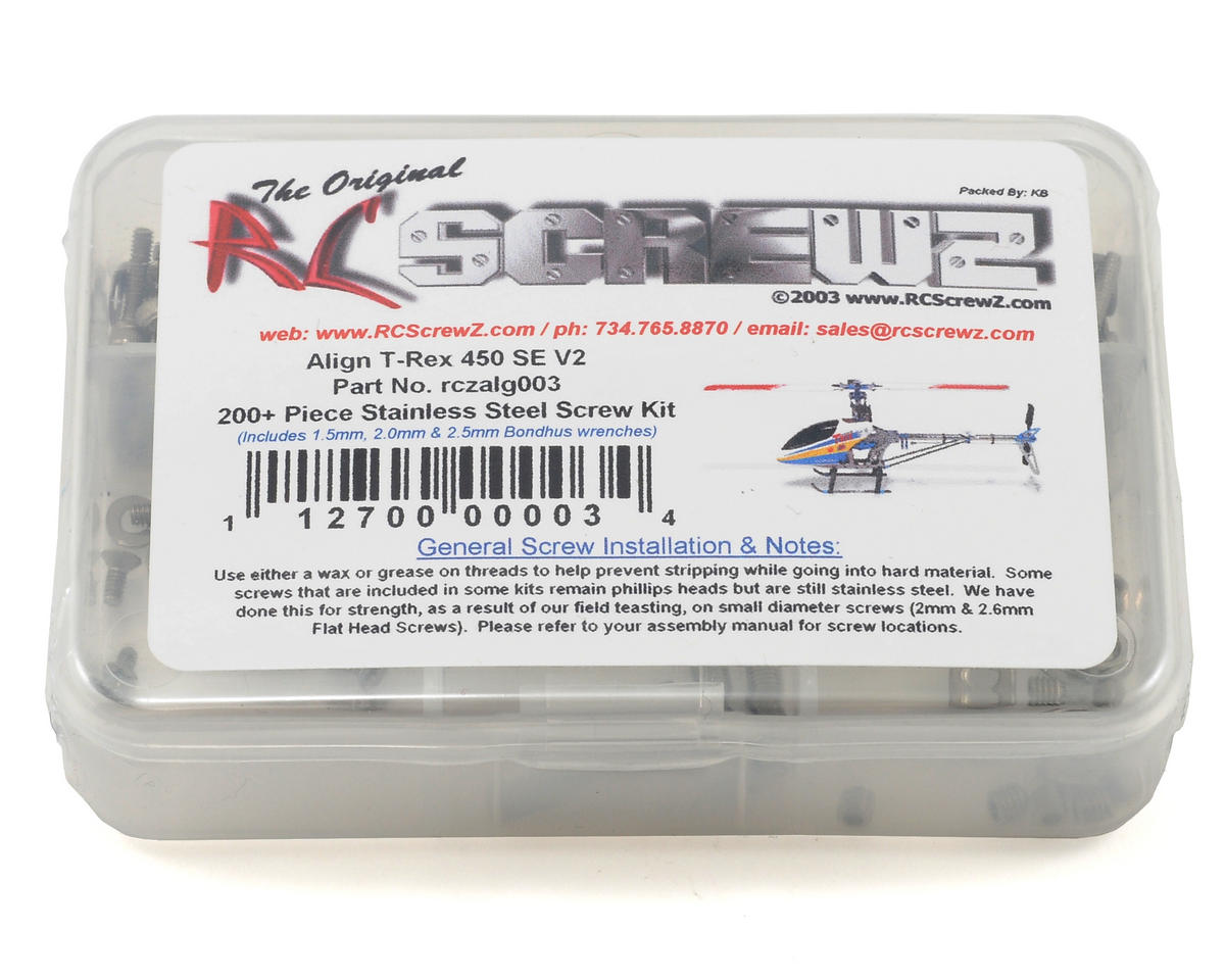 RC Screwz Align T-Rex 450 SE V2 Stainless Steel Screw Kit