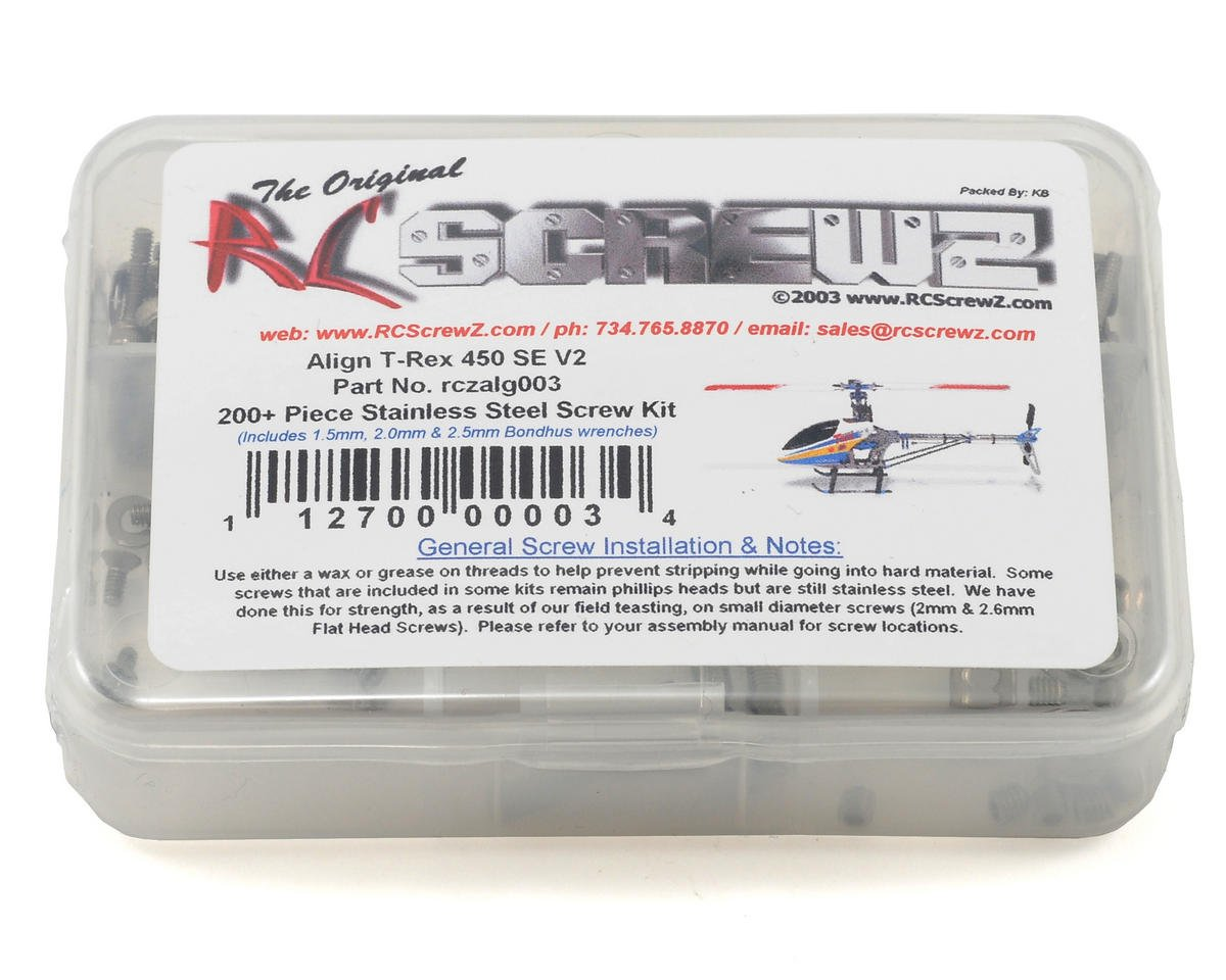 RC Screwz Align T-Rex 450SE V2 450 SE Stainless Steel Screw Kit