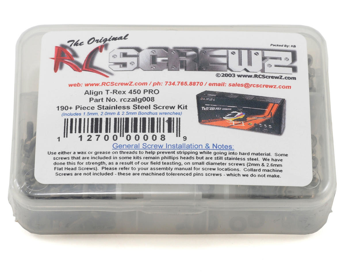 RC Screwz Align T-Rex 450 Pro Stainless Steel Screw Kit