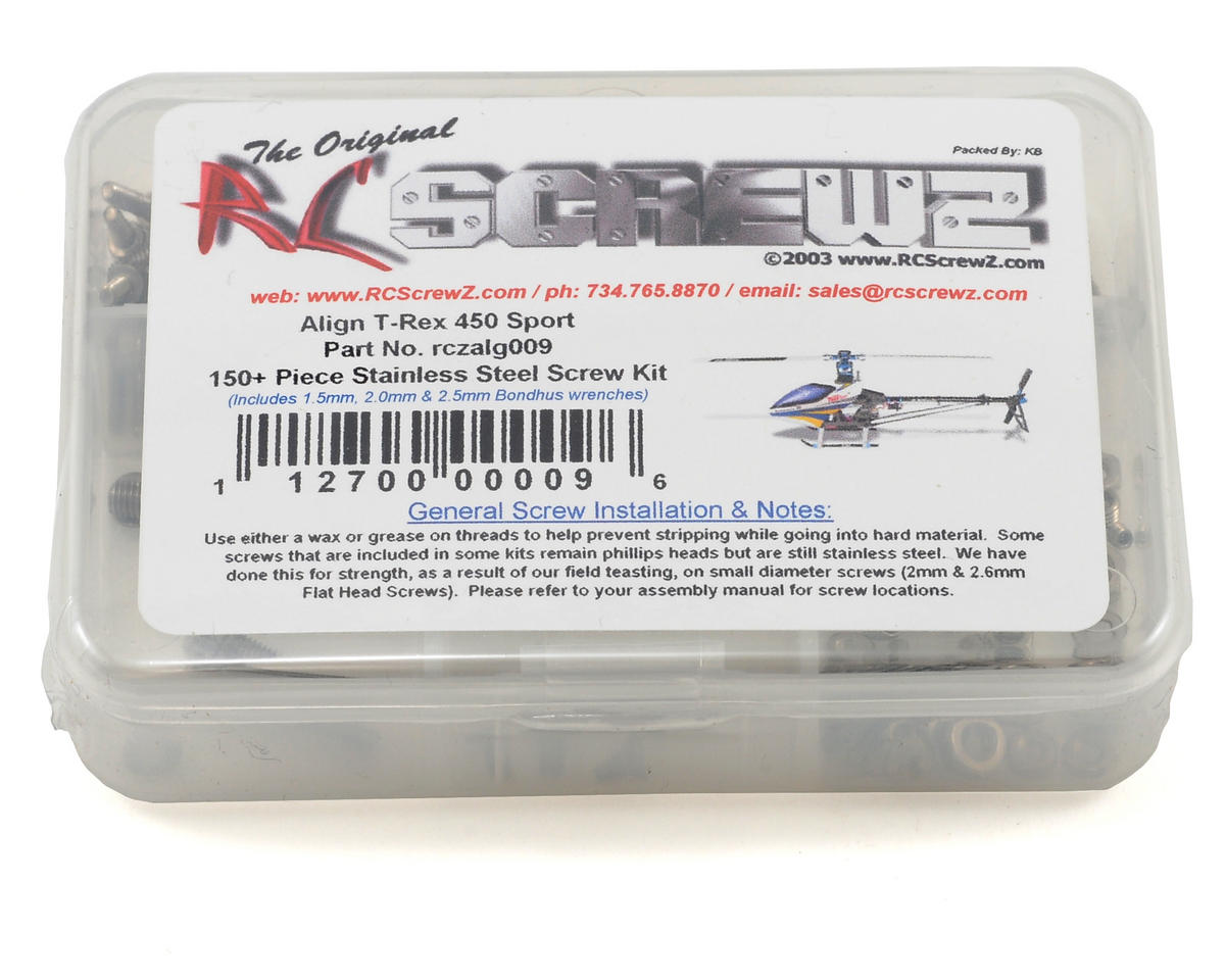 RC Screwz Align T-Rex 450 Sport Stainless Steel Screw Kit