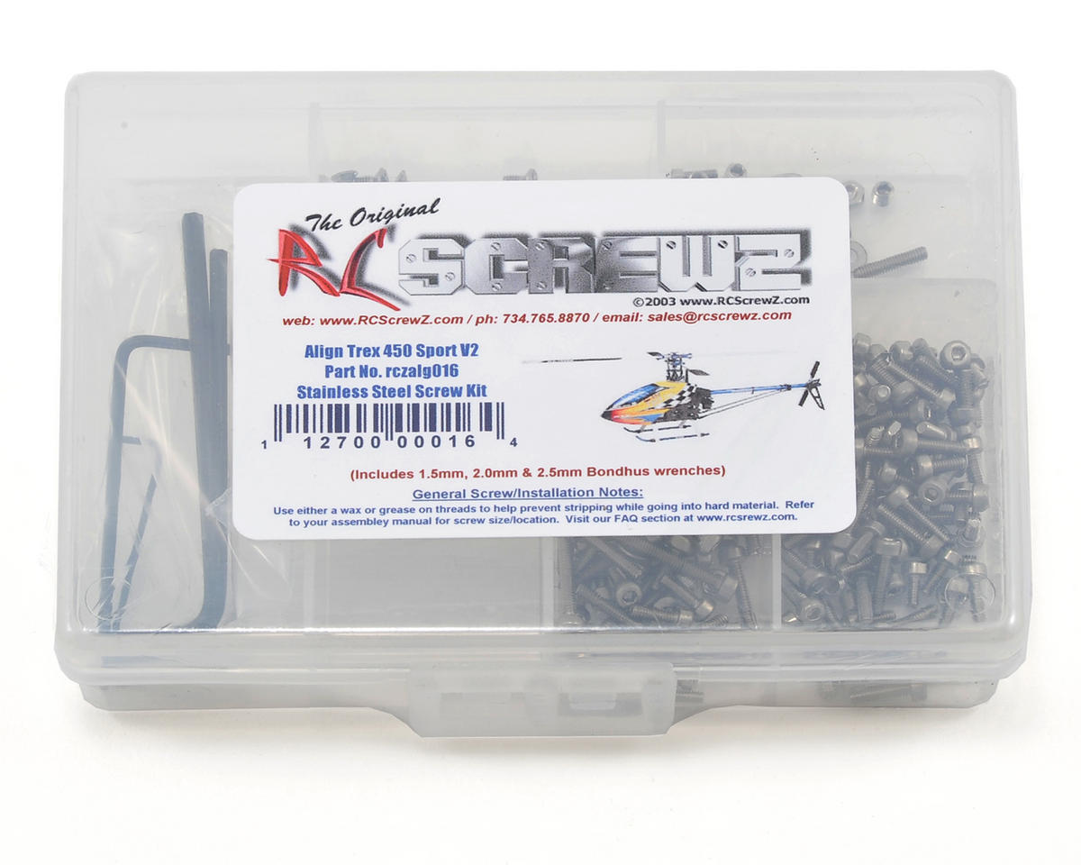 RC Screwz Align T-Rex 450 Sport V2 Stainless Steel Screw Kit