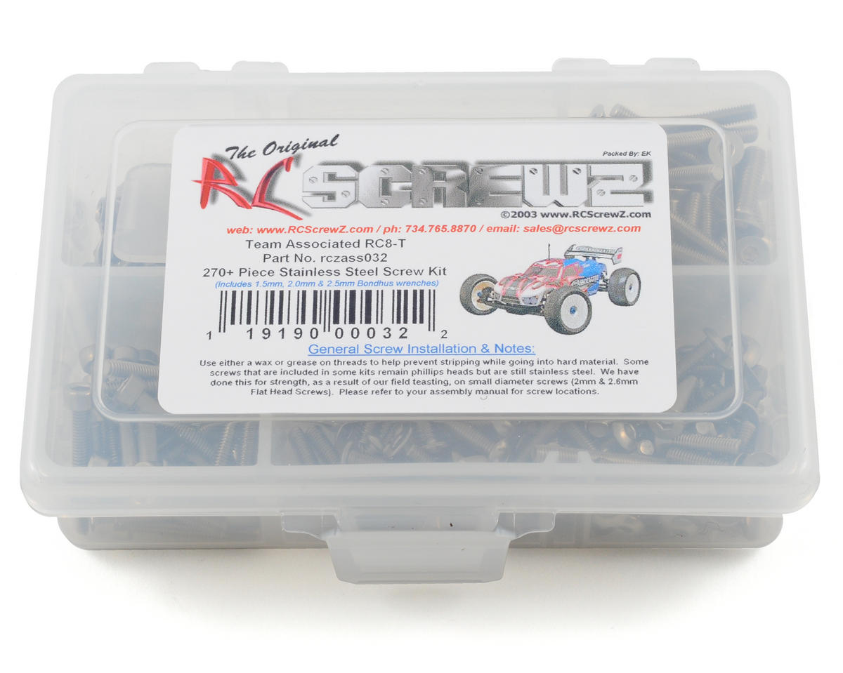 RC Screwz Associated RC8-T Stainless Steel Screw Kit