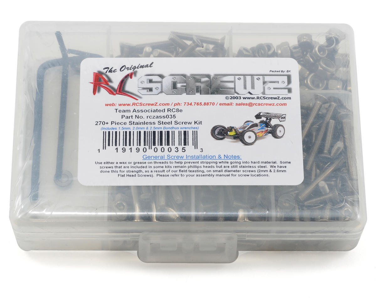 RC Screwz Associated RC8e Stainless Steel Screw Kit