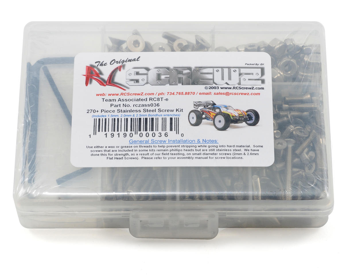 RC Screwz Associated RC8Te Stainless Steel Screw Kit