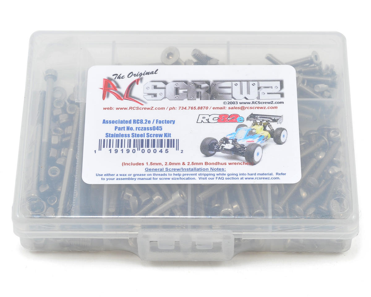 Associated RC8.2e Stainless Steel Screw Kit by RC Screwz