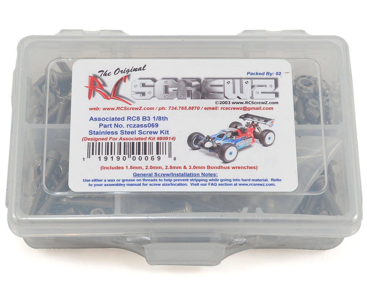 RC Screwz Associated RC8 B3 Team 1/8th Stainless Screw Kit
