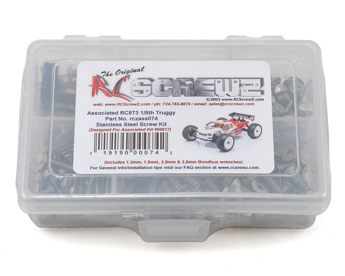 Associated RC8T3 Team Stainless Screw Kit by RC Screwz