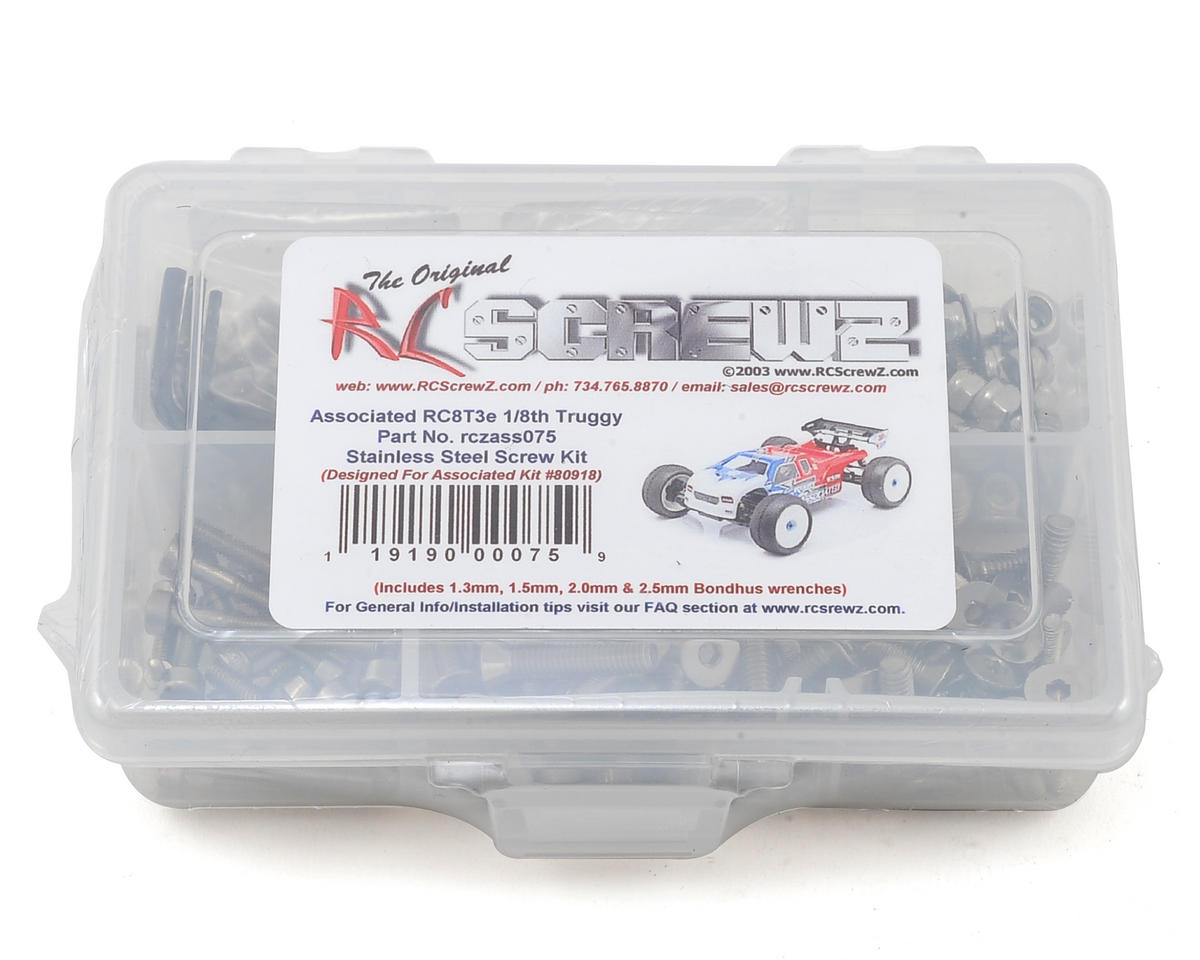 Associated RC8T3e Team Stainless Screw Kit by RC Screwz