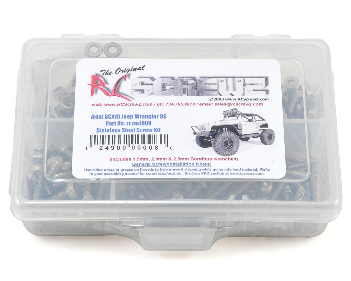 RC Screwz Axial SCX10 Jeep Wrangler G6 Stainless Steel Screw Kit