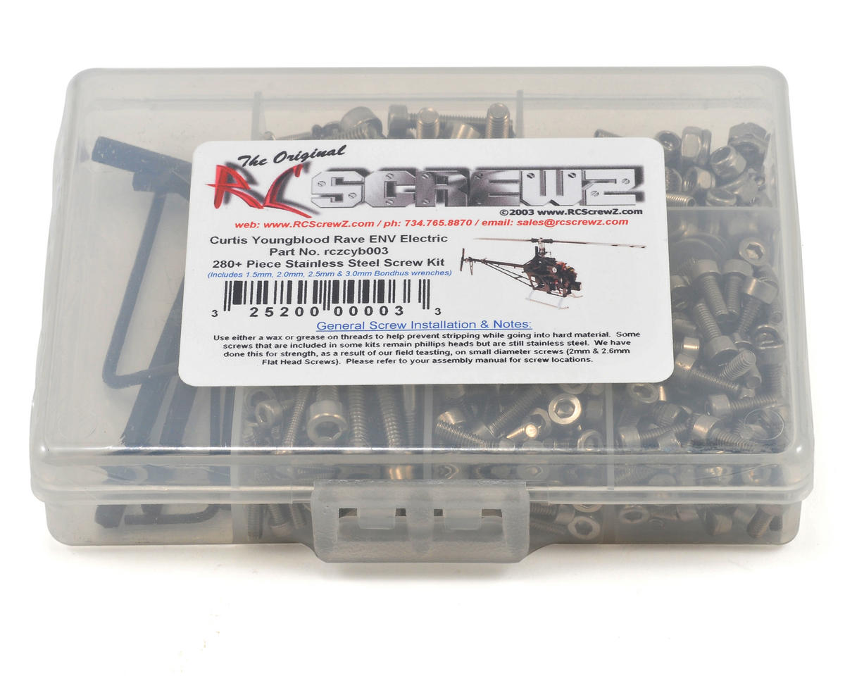 RC Screwz Curtis Youngblood Rave ENV Electric Stainless Steel Screw Kit