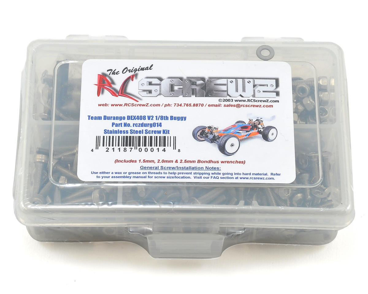 RC Screwz Team Durango DEX408 V2 1/8th Stainless Steel Screw Kit