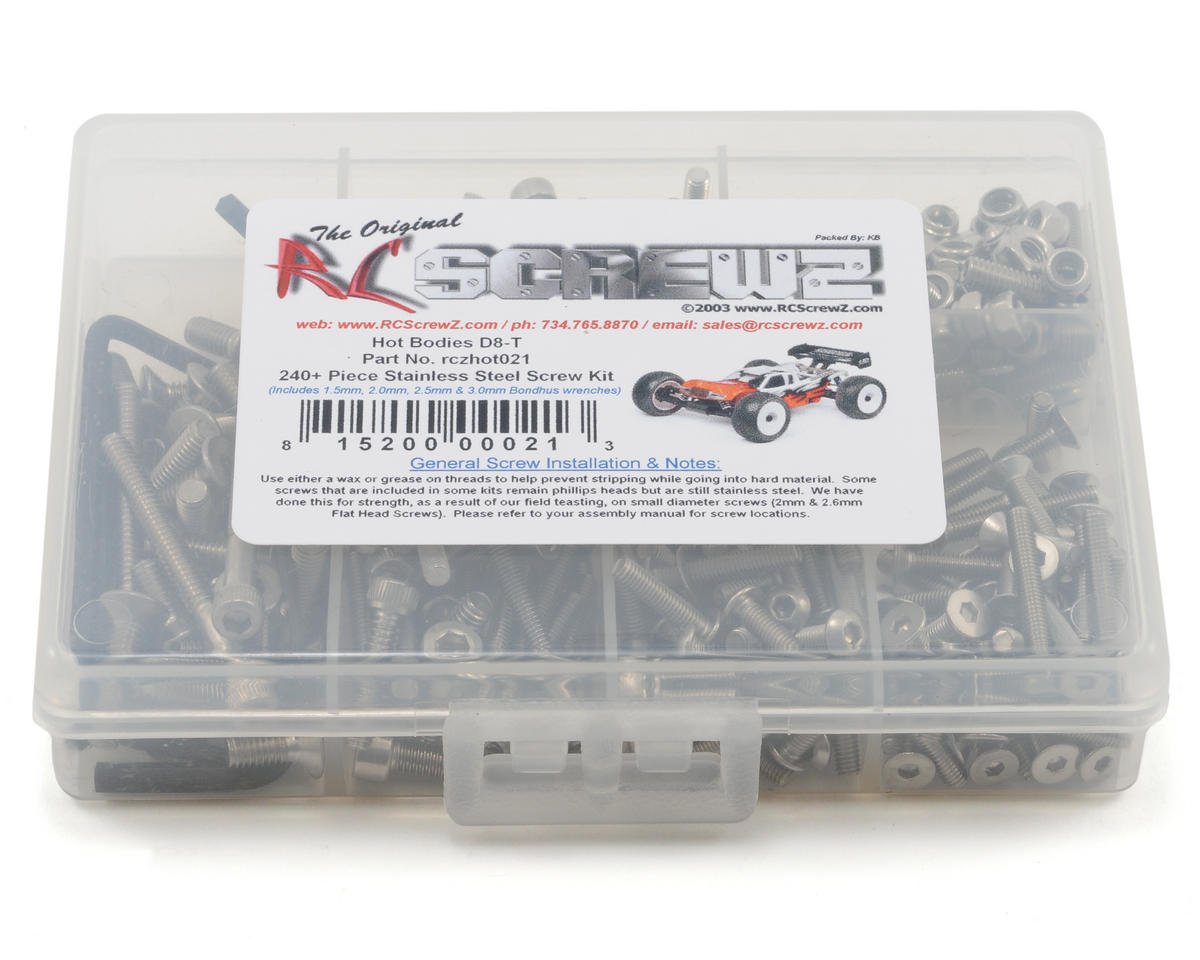 Hot Bodies D8T Stainless Steel Screw Kit by RC Screwz