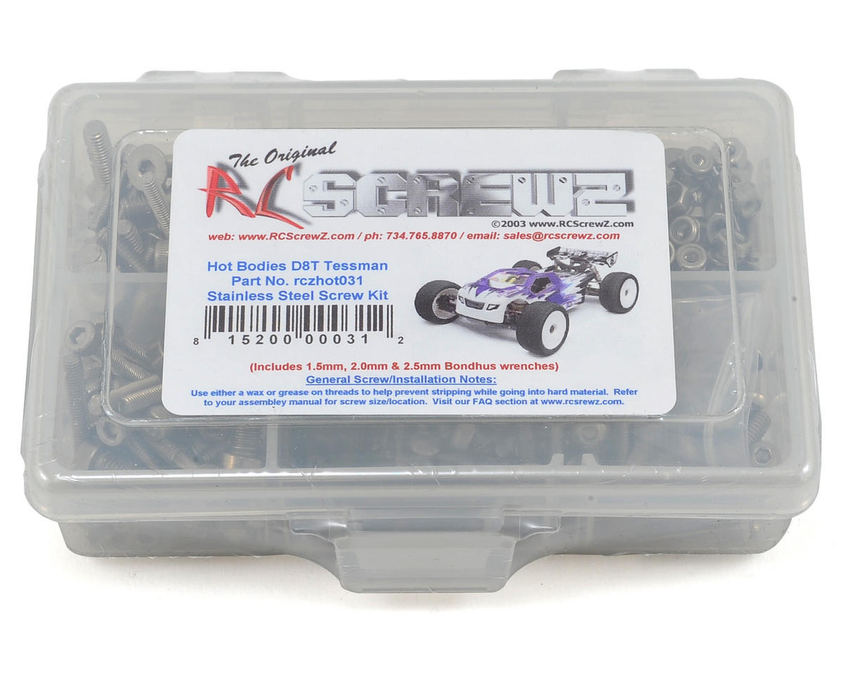 RC Screwz Hot Bodies D8T Tessmann Truggy Stainless Steel Screw Kit