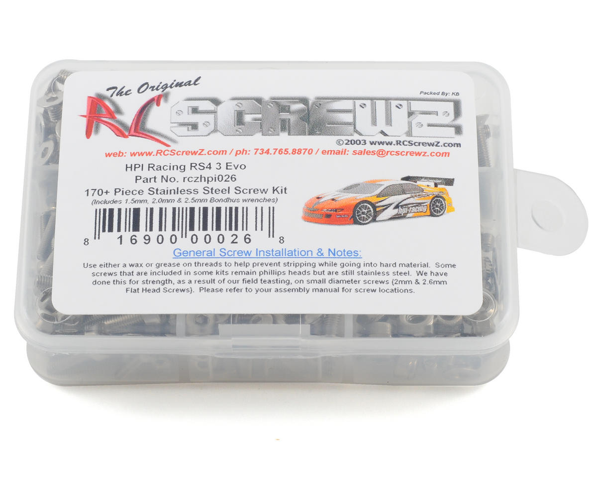 RC Screwz HPI RS4 3 RTR Evo Stainless Steel Screw Kit