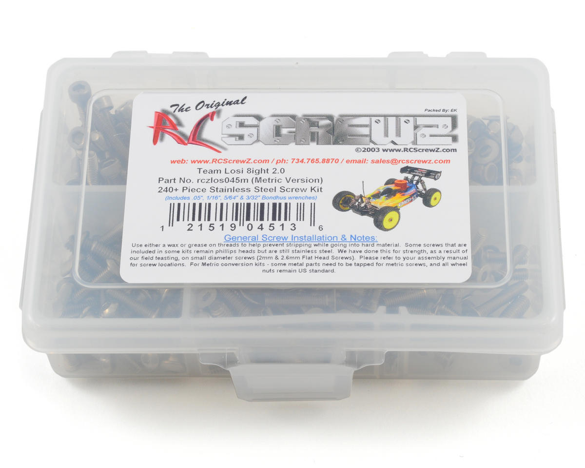 RC Screwz Losi 8ight 2.0 Stainless Steel Screw Kit (Metric Version)