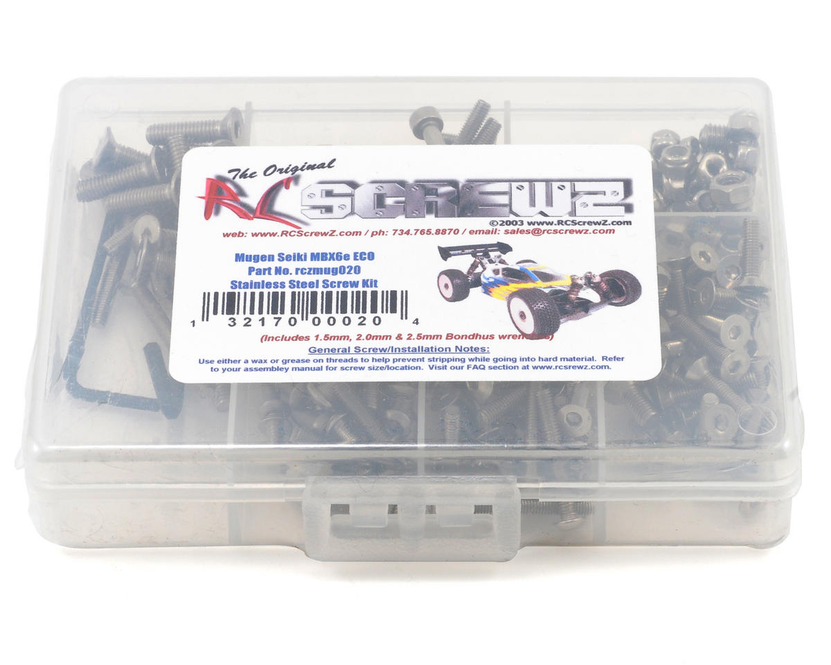 Mugen Seiki MBX-6 ECO Stainless Steel Screw Kit by RC Screwz