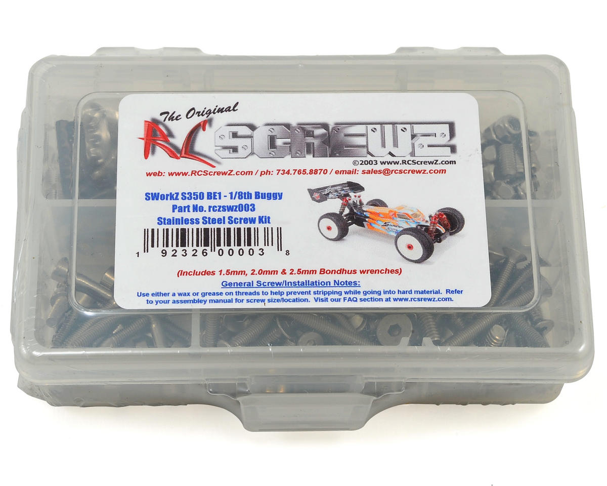 RC Screwz SWorkz S350 BE1 EVO 1/8 Buggy Stainless Steel Screw Kit