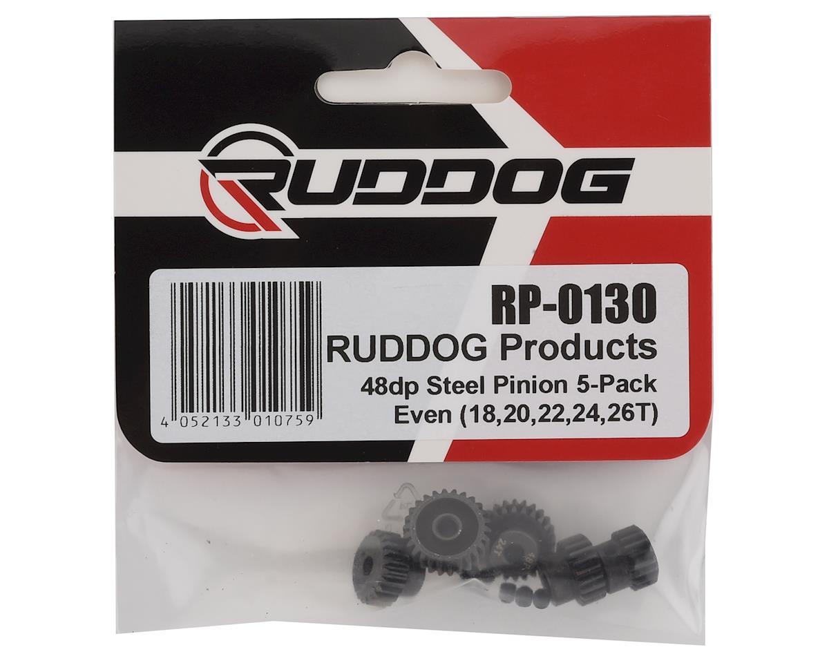 "Ruddog Steel 48P Pinion Gear ""Even"" 5-Pack Set (18,20,22,24,26T)"