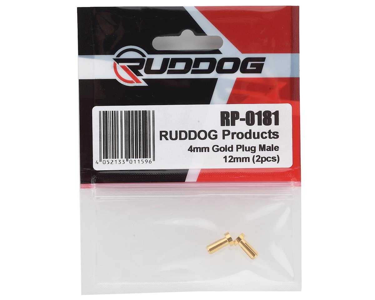 Ruddog 4mm Gold Male Bullet Plug (2) (12mm Long)