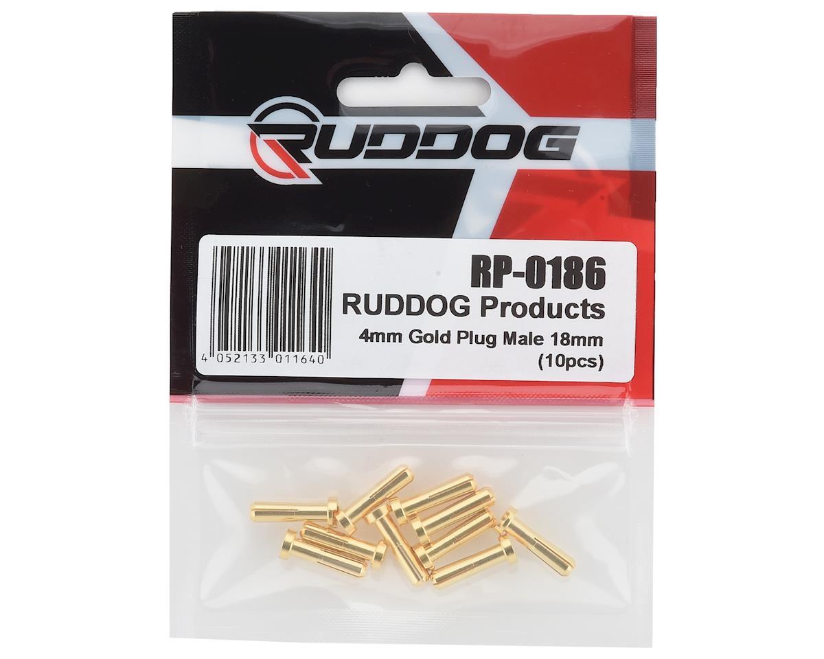 Ruddog 4mm Gold Male Bullet Plug (10) (18mm Long)