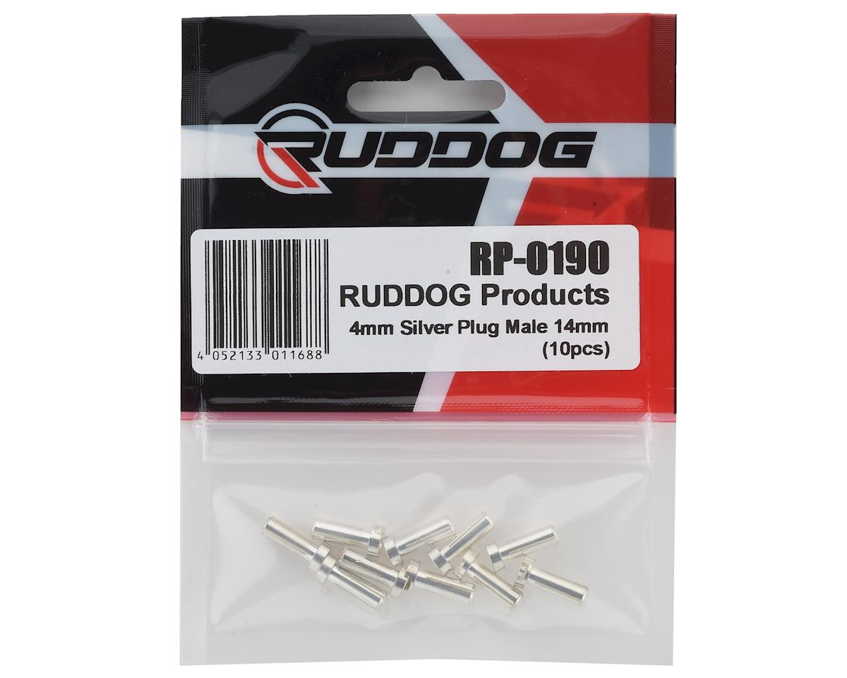 Ruddog 4mm Silver Male Bullet Plug (10) (14mm Long)