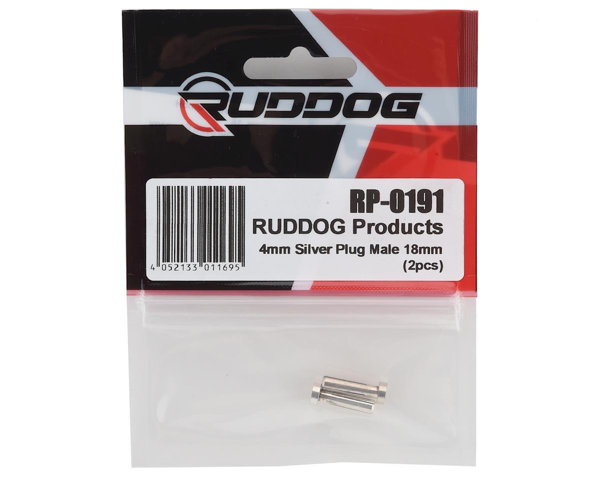 Ruddog 4mm Silver Male Bullet Plug (2) (18mm Long)