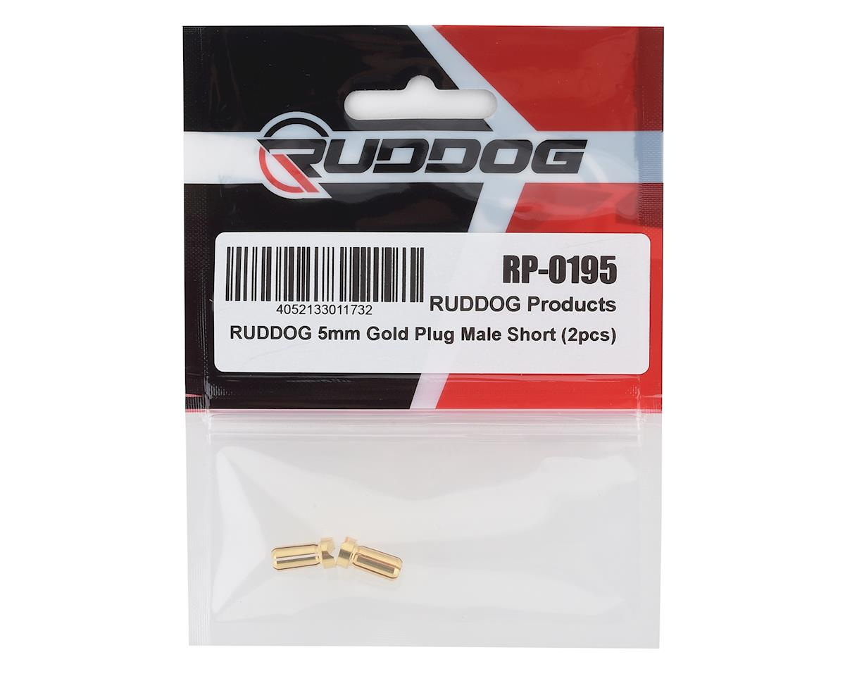 Ruddog 5mm Short Gold Male Bullet Plug (2) (10mm Long)