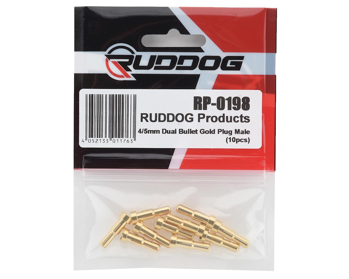 Ruddog 4/5mm Dual Gold Male Bullet Plug (10)