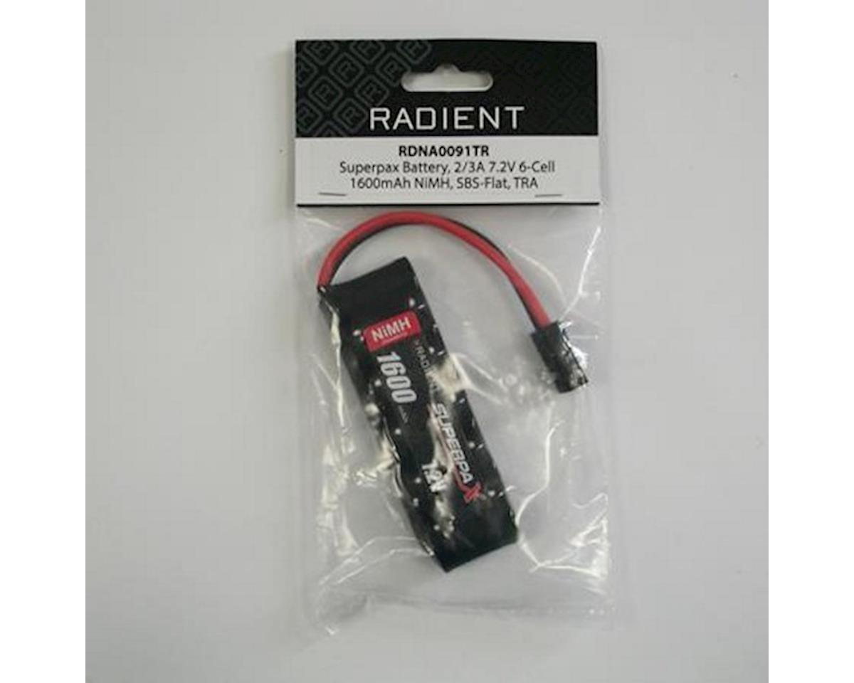 6-Cell 7.2V 1600mAh NiMH Flat Battery Pack w/Traxxas Connector by Radient