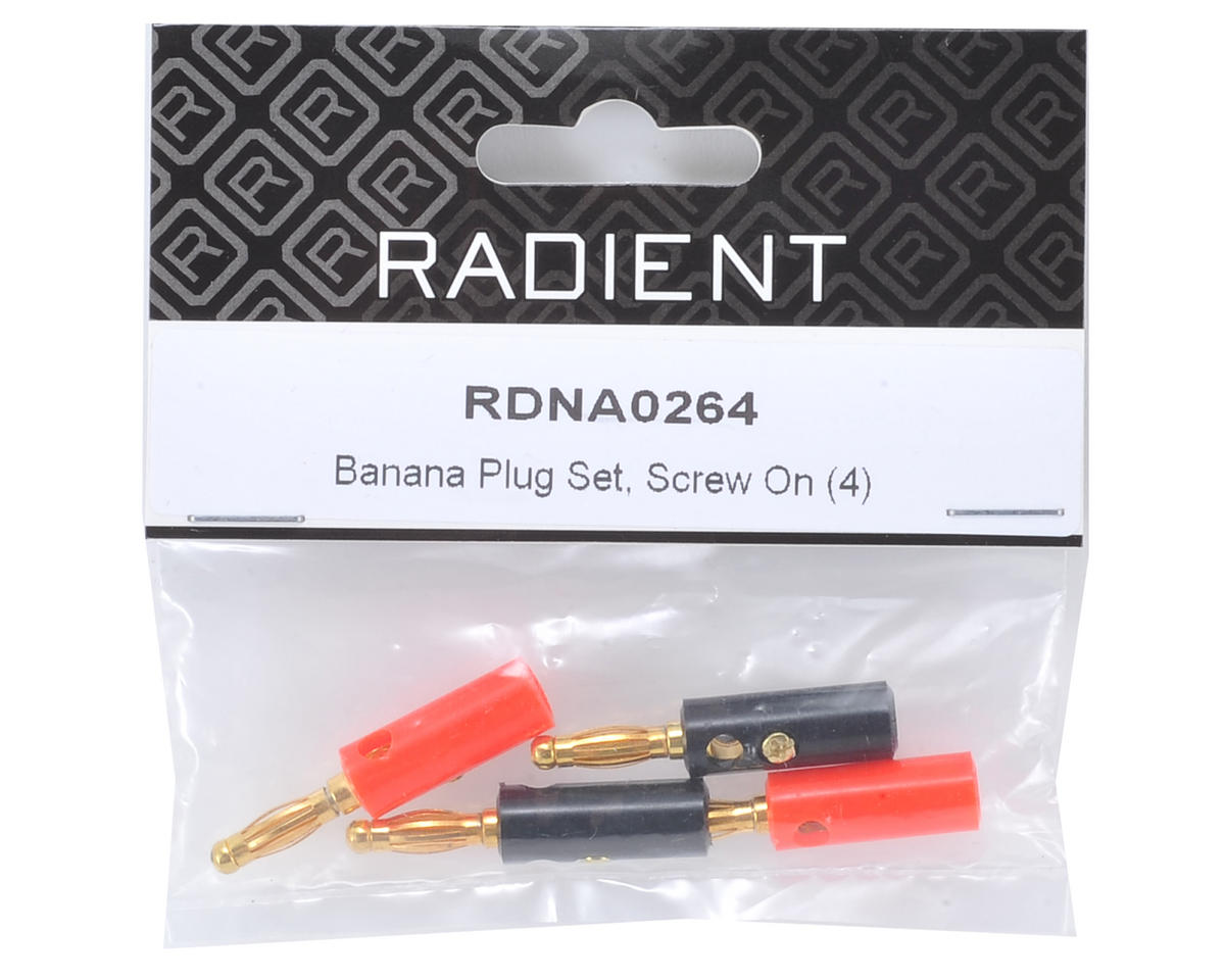 Radient 4mm Screw-On Banana Plug Set (4)