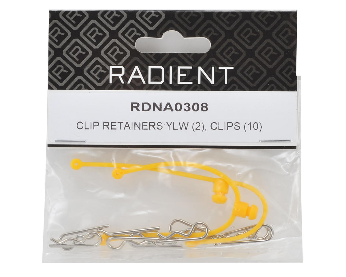 Radient Body Clip Retainer w/Clips (Yellow) (2)