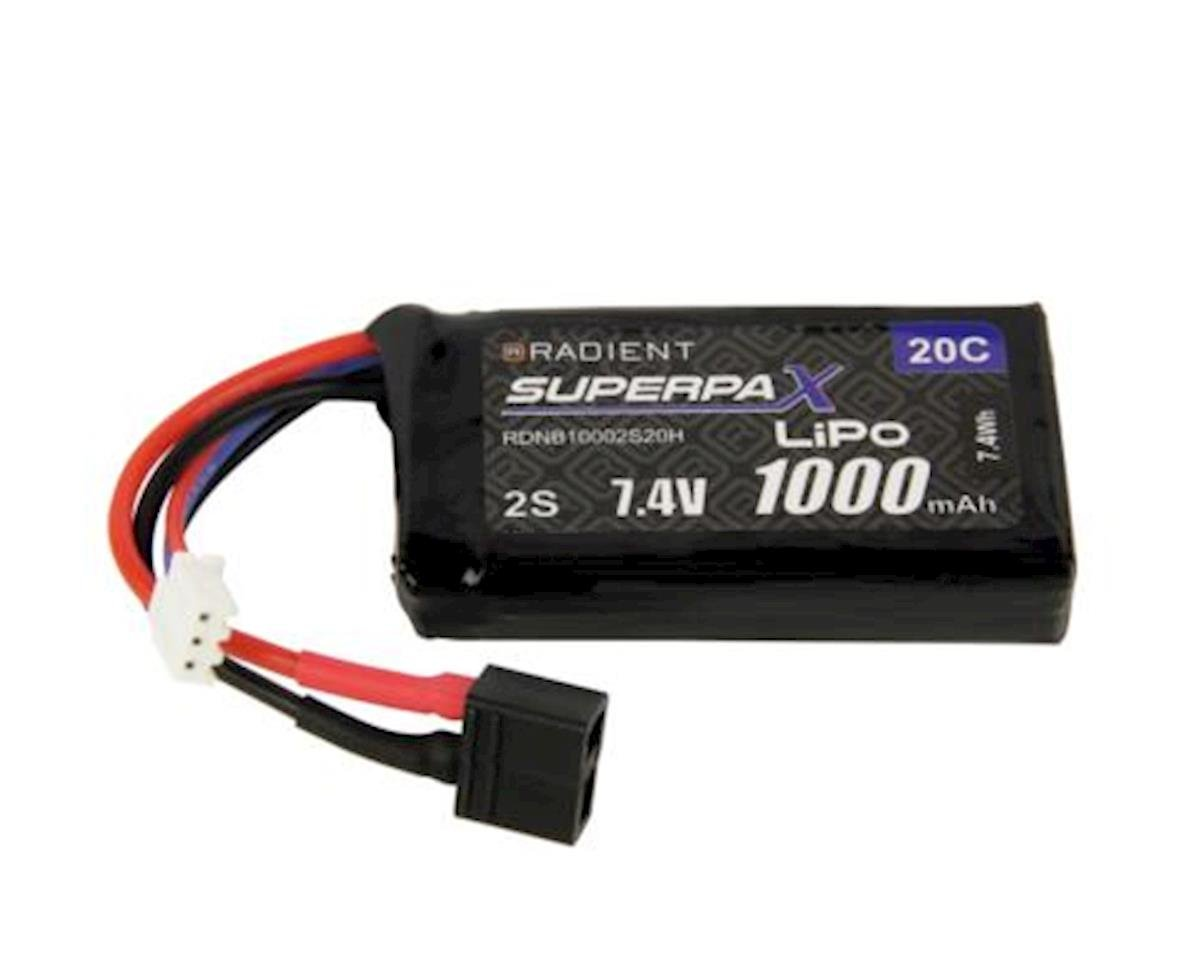 2S 20C LiPo Battery w/T-Style Connector (7.4V/1000mAh) by Radient