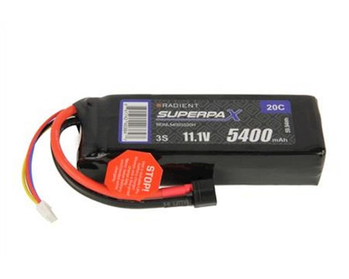 3S 20C LiPo Battery Pack w/T-Style Connector (11.1V/5400mAh) by Radient