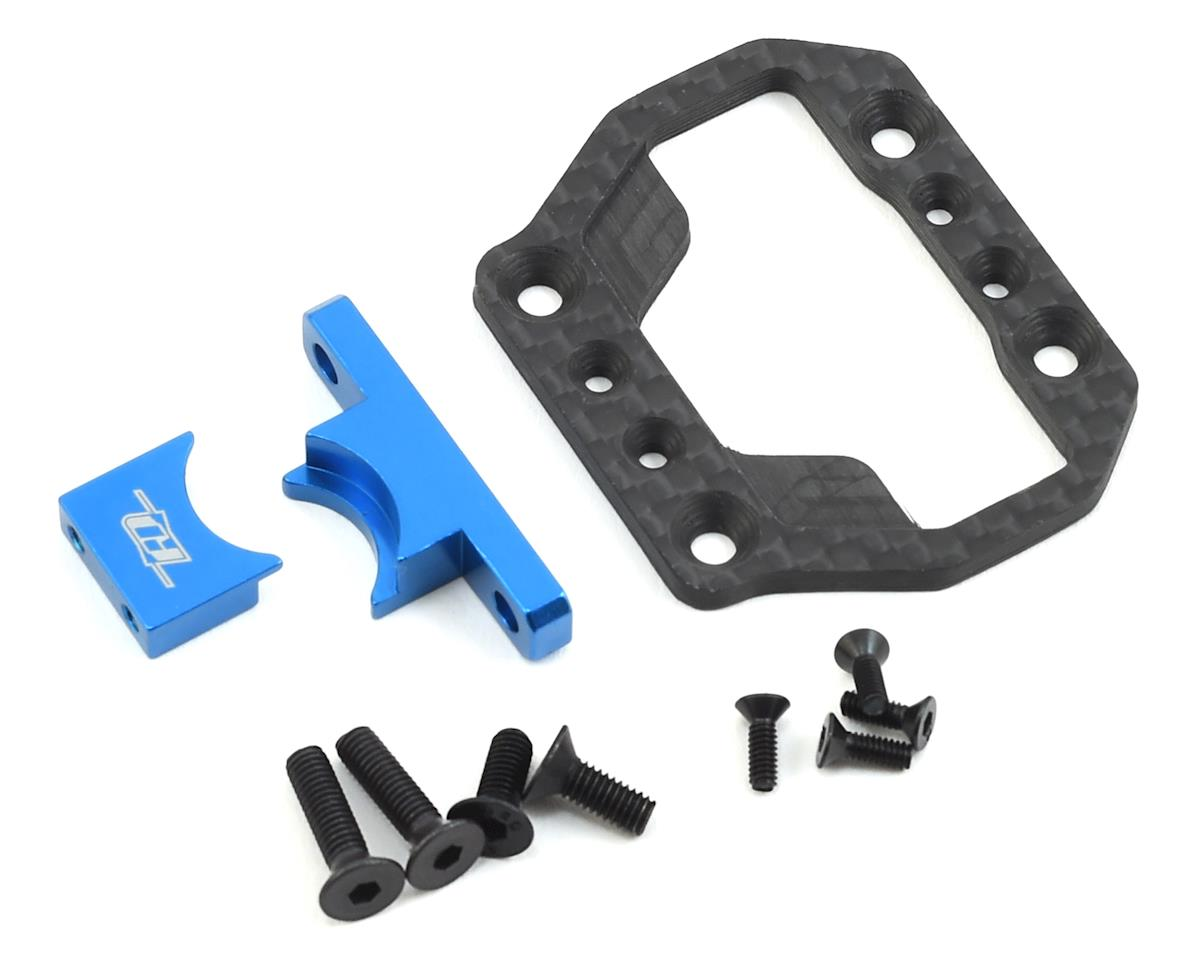 Revolution Design B64 Carbon/Aluminum Center Bulkhead Cover (Blue) (Team Associated RC10 B64)