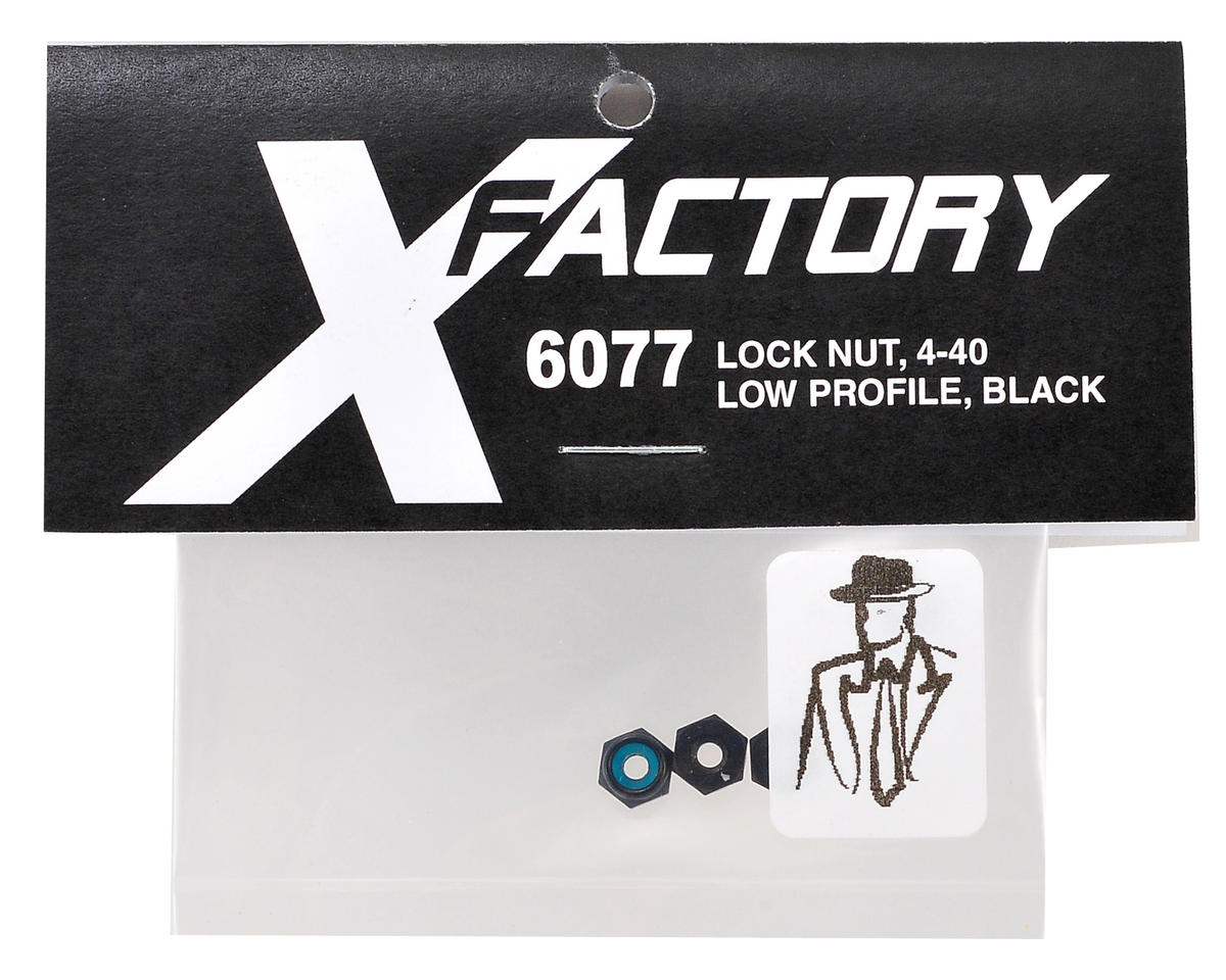 "X Factory ""Real Men Wear Black"" Low Profile 4-40 Locknut (Black) (4)"