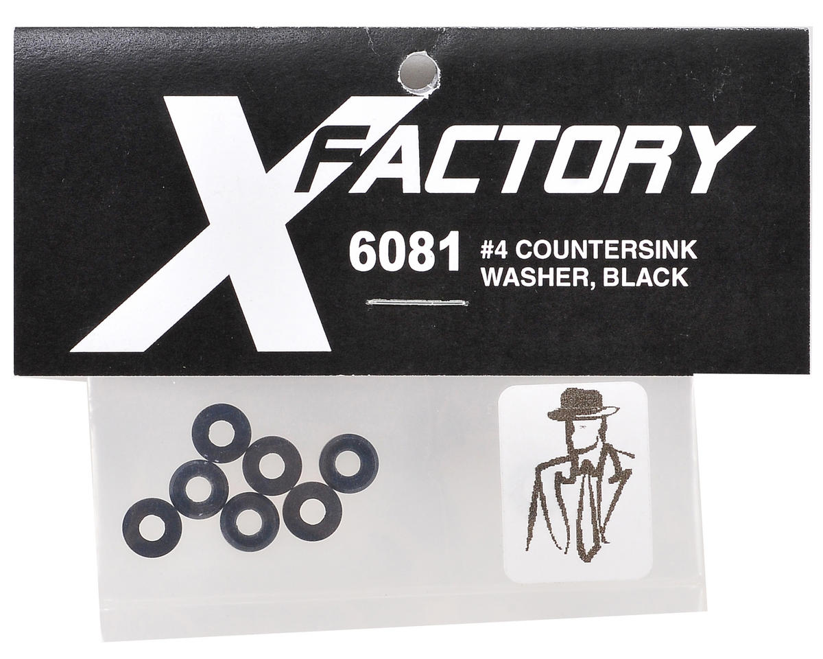 "X Factory ""Real Men Wear Black"" #4 Counter Sink Washer (Black) (8)"