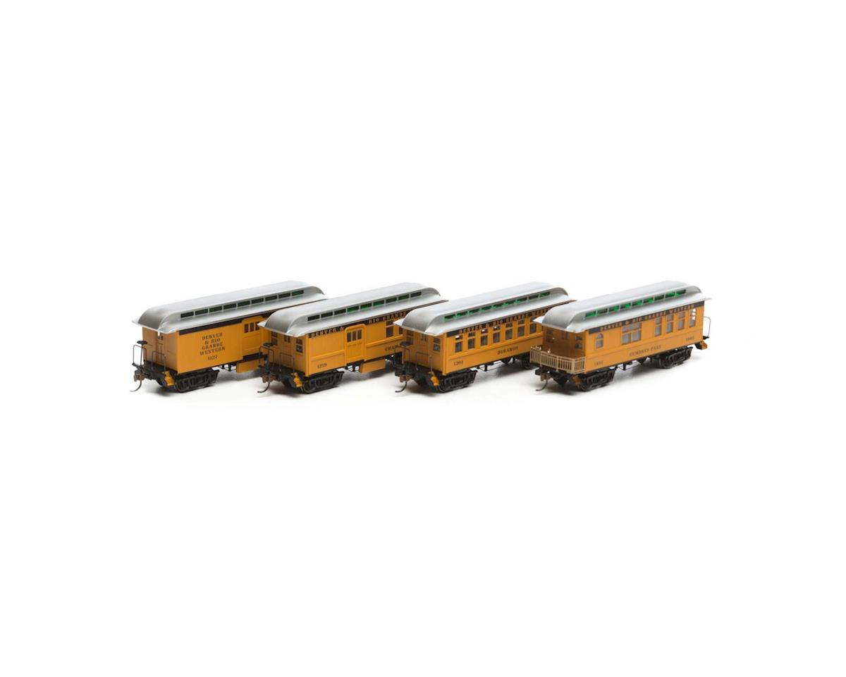 Roundhouse HO RTR 34' Old Time Overton Pass Set, D&RGW (4)