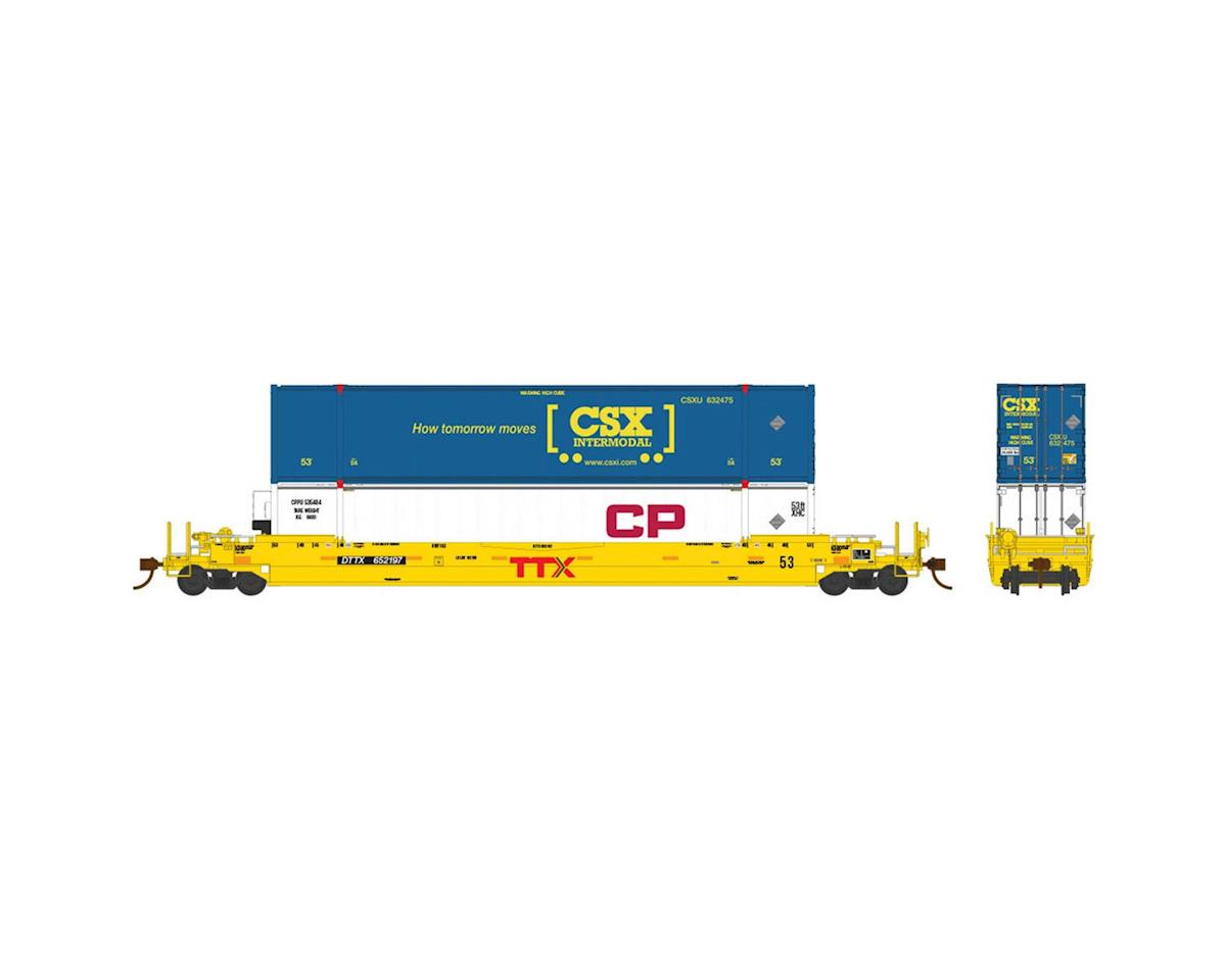 Rapido Trains HO 53'Well Car w/2 Containers, DTTX/TTX Co #652756