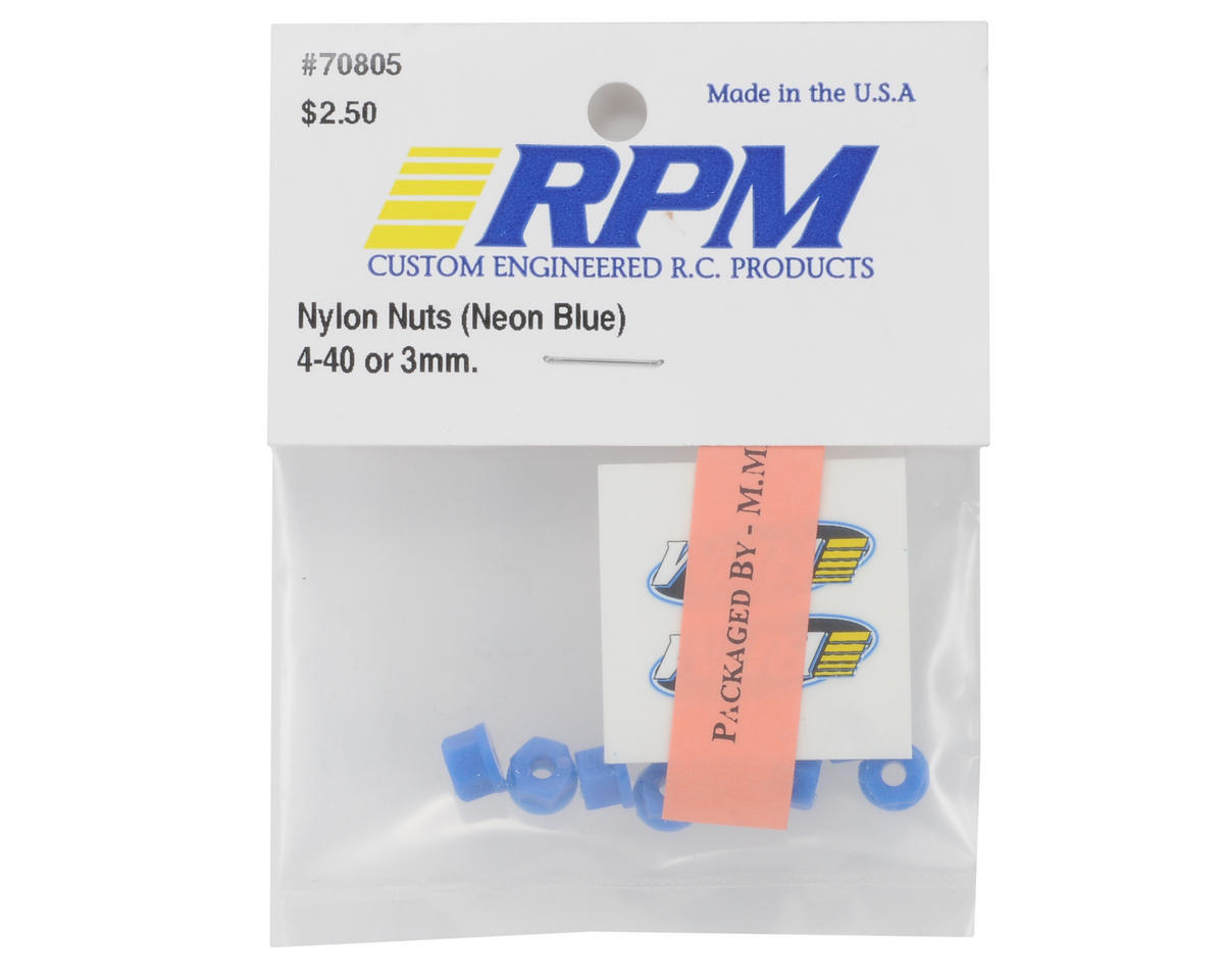 RPM Nylon Nuts 4-40 (Neon Blue) (8)