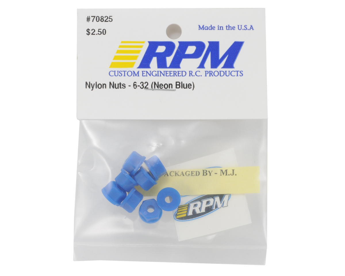 6-32 Nylon Nuts (Neon Blue) (8) by RPM