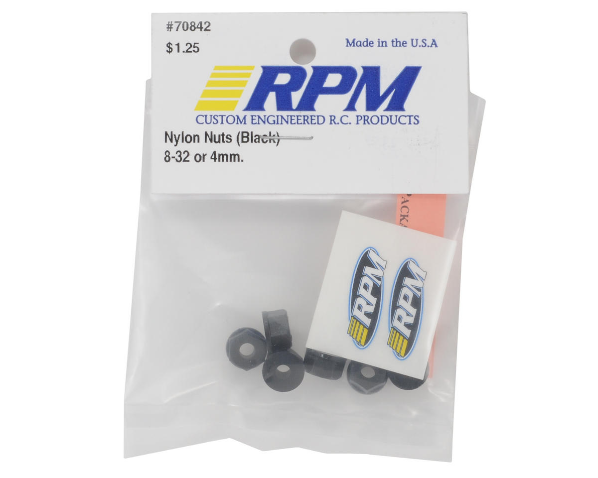 RPM 8-32 Nylon Nuts (Black) (8)