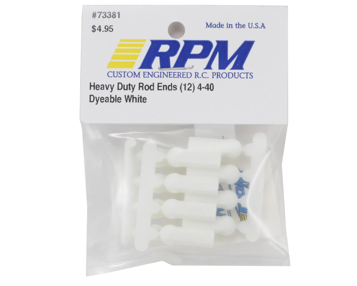 RPM Heavy Duty 4-40 Rod Ends (White) (12)
