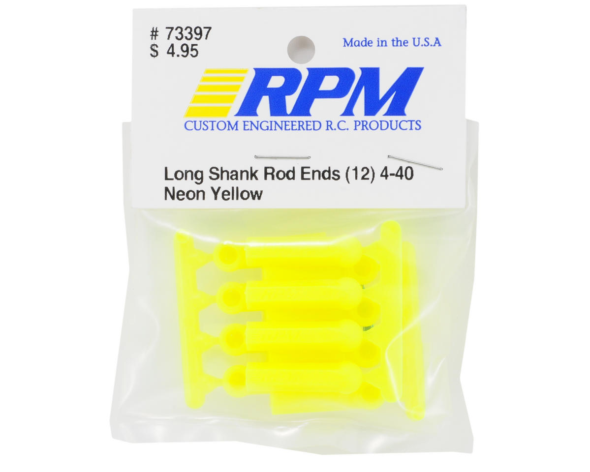 RPM Long Shank 4-40 Rod Ends (Yellow) (12)